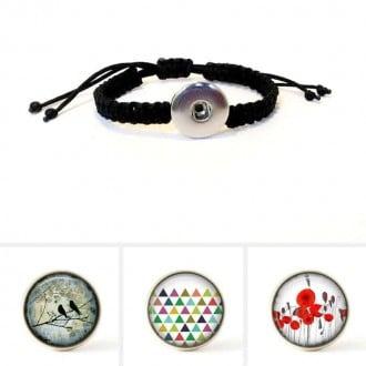 Bracelet personalisable avec tressage macramé noir et boutons