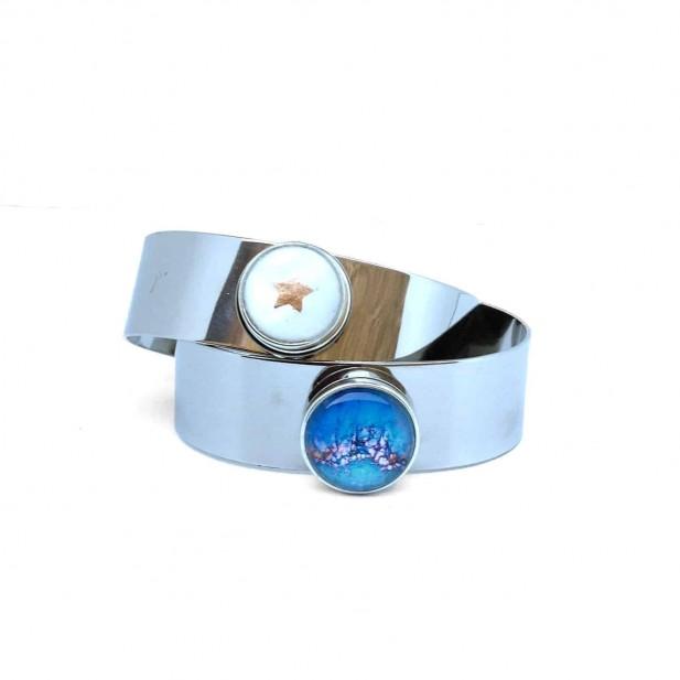 Bracelet manchette personnalisable en acier inoxydable