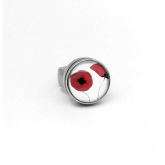 Interchangeable cabochon ring in stainless steel size 17/18