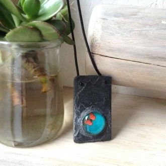 Rectangular slate necklace with turquoise and orange butterfly cabochon
