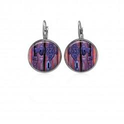 Boucles d'oreilles dormeuses motif vieille serrure tons violets