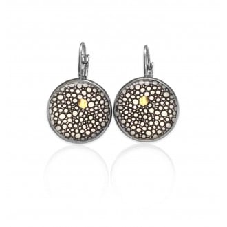 Lever-back earrings with a glamorous round circles themes in black, white and a touch of gold