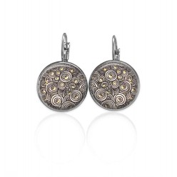 Boucles d'oreilles pendantes carées collection Litha bleu profond et or rose