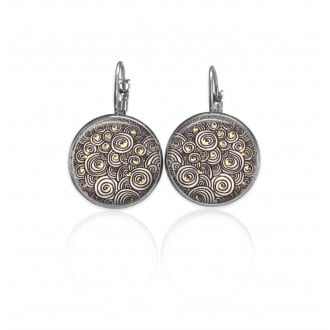 Lever-back earrings with a glamorous black spirals theme in black and white and a touch of gold.