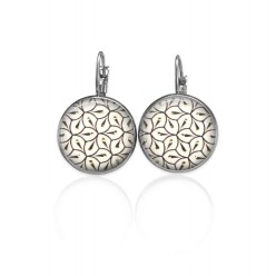 Lever-back earrings with a contemporary black, white and gold geometric pattern
