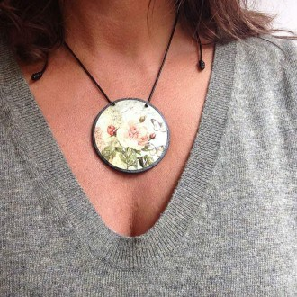 English Garden themed slate necklace