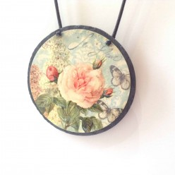Slate necklace with an English rose garden theme - Shabby chic style