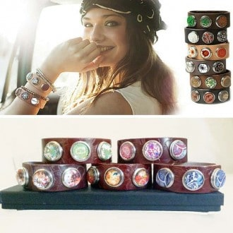 Unisex leather strap bracelet with 3 interchangeable cabochons settings