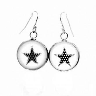 Boucles d'oreilles pendantes Thème étoile noir et blanc