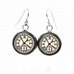 Boucles d'oreilles pendantes Thème Horloge Vintage noir et blanc