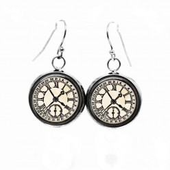Simple dangle earrings with a Vintage black-and-white clock