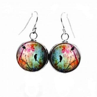 Boucles d'oreilles pendantes Thème Oiseaux sur la branche multicolore