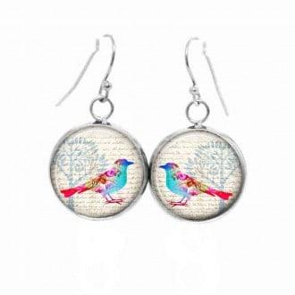 Boucles d'oreilles pendantes Thème Oiseaux pastel