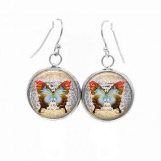 Boucles d'oreilles pendantes Thème Papillon Vintage