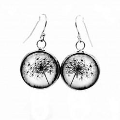 Boucles d'oreilles pendantes Thème Pissenlit photo noir et blanc
