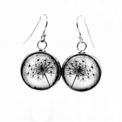 Simple dangle earrings with a black-and-white photographic image of a Queen Annes lace flower