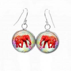 Boucles d'oreilles pendantes Thème Elephant Rouge