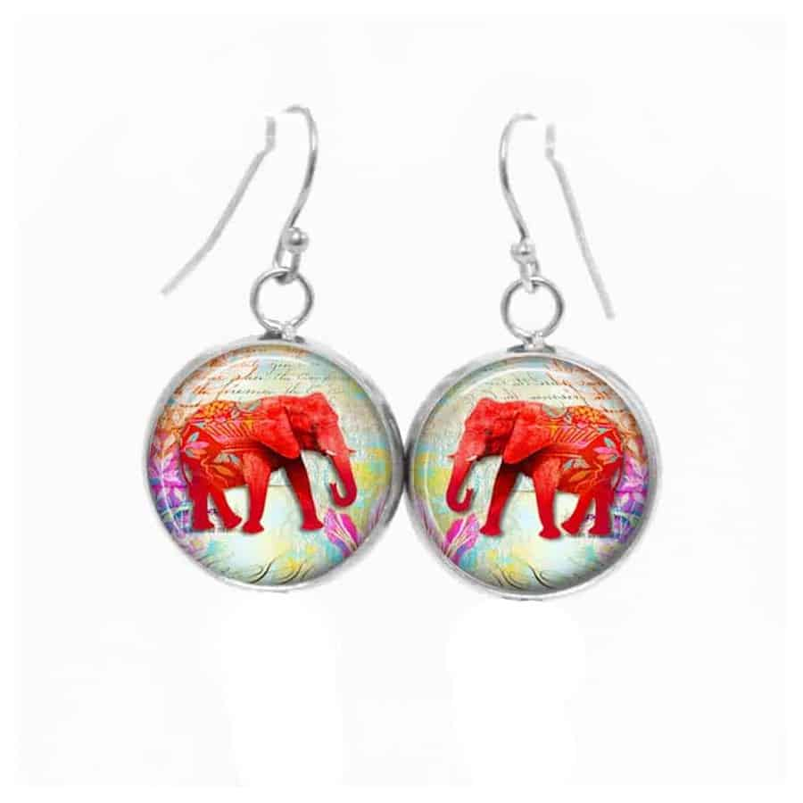 boucles d 39 oreilles pendantes th me elephant rouge. Black Bedroom Furniture Sets. Home Design Ideas