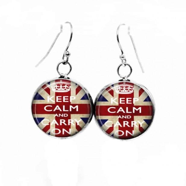 "Boucles d'oreilles pendantes Thème Drapeau Anglais 'Keep Calm and..."""