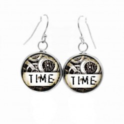 Simple dangle earrings with a black and white Steampunk theme