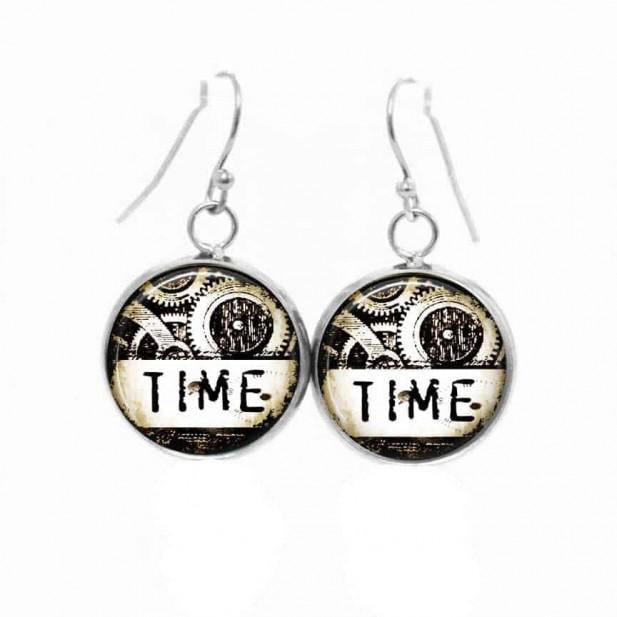 Boucles d'oreilles pendantes Thème Steampunk noir et blanc