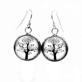 Boucles d'oreilles pendantes Thème Arbre de la Vie en noir et blanc