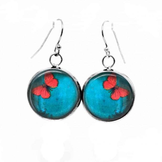 Boucles d'oreilles pendantes Thème Papillon orange sur fond turquoise