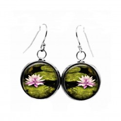 Simple dangle earrings with a water-lily flower theme