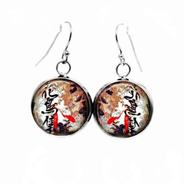 Boucles d'oreilles pendantes Thème Calligraphie et Feuilles