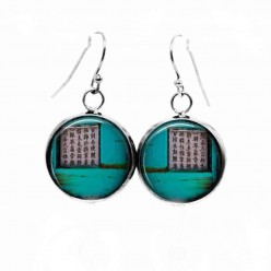 Simple dangle earrings with a turquoise Asia Grunge theme
