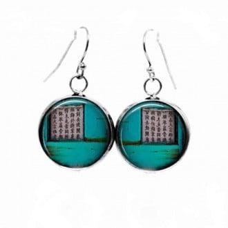 Boucles d'oreilles pendantes Thème Asia Grunge Turquoise