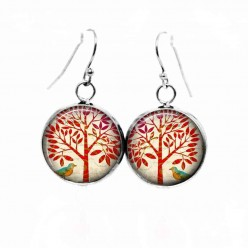 Simple dangle earrings with a red tree of life and little bird theme