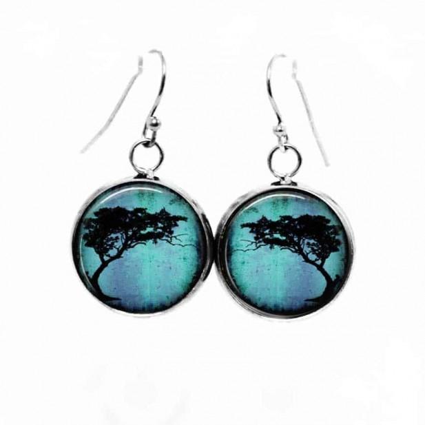 Boucles d'oreilles pendantes Thème Arbre acacia Tortillis sur fond Turquoise