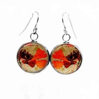 Boucles d'oreilles pendantes Thème Feuilles de Gingko d'automne