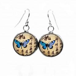Boucles d'oreilles pendantes Thème Papillon et Calligraphie