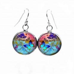 Boucles d'oreilles pendantes Thème Summertime Papillon turquoise