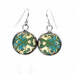 Boucles d'oreilles pendantes Thème Damassé Turquoise et vert emmeraude