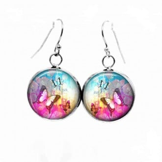Boucles d'oreilles pendantes Thème Papillon summertime Rose vif