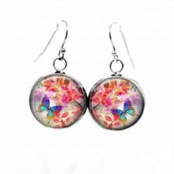 Boucles d'oreilles pendantes Thème confetti de coeurs roses