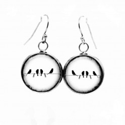 Simple dangle earrings with a birds on the wire theme