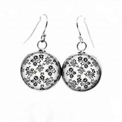 Boucles d'oreilles pendantes Thème Floral en noir et blanc