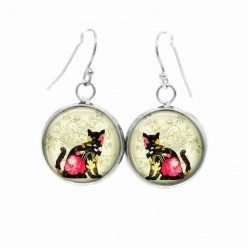 Cat dangle earrings with a pink Floral cat theme
