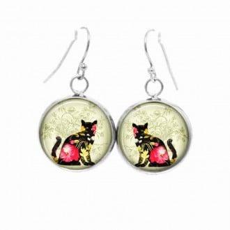Boucles d'oreilles pendantes Thème chat Floral rose
