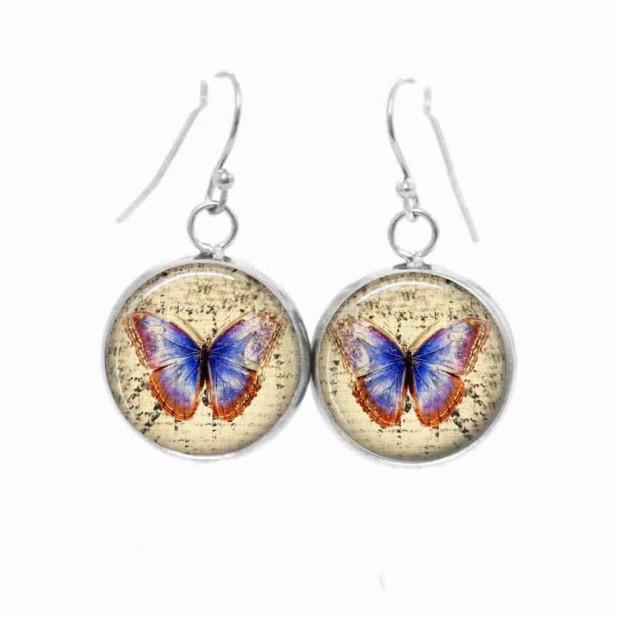 Boucles d'oreilles pendantes Thème Papillon vintage bleu