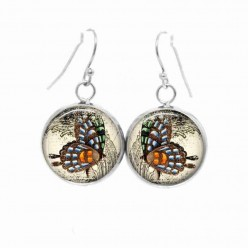 Simple dangle earrings with a Vintage butterfly theme in blues and oranges
