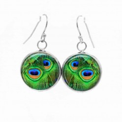 Boucles d'oreilles pendantes Thème plume de Paon Turquoise et vert emmeraude