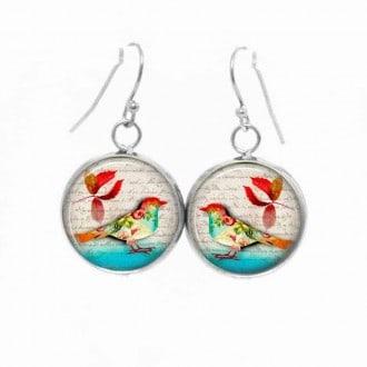 Boucles d'oreilles pendantes Thème Oiseau d'Automne