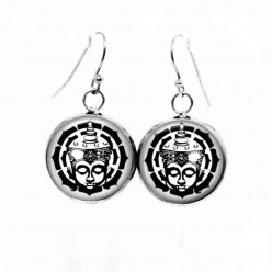 Boucles d'oreilles pendantes Thème Boudha noir et blanc