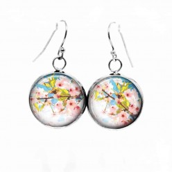 "Simple dangle earrings with the theme :""Ostara"" Cherry blossoms"