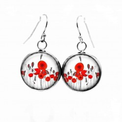 Simple dangle earrings with the Theme: naïve poppies